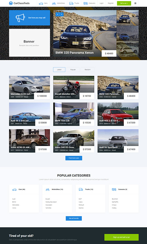 Auto classified ads website